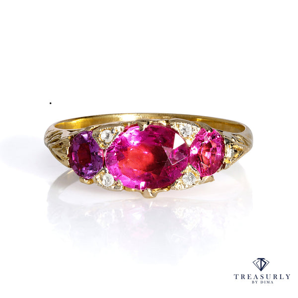 Victorian Revival 1.26CT Vintage Old Euro Oval Pink Tourmaline Diamond Trilogy Ring | Treasurly by Dima - Exquisite Diamonds and Fine Quality Antique, Vintage, and Estate Jewelry