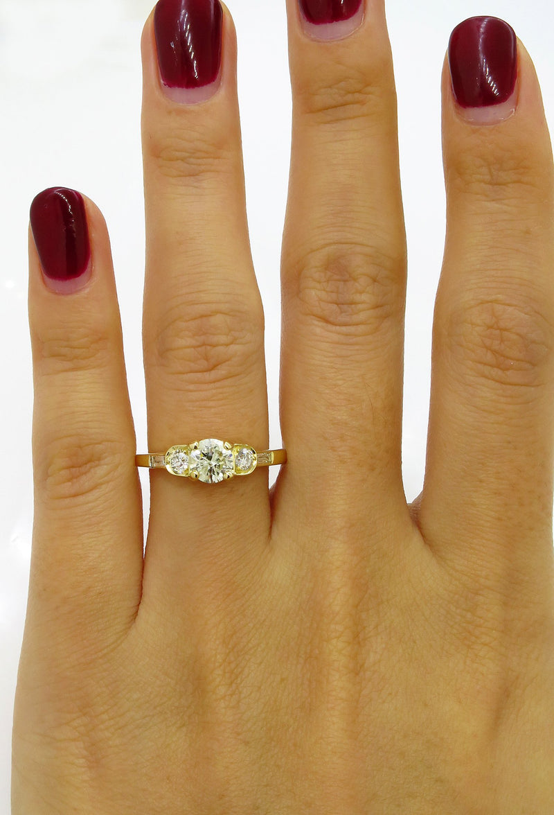 Vintage 1.08ct Five Stone Diamond Wedding ENGAGEMENT 18k Yellow Gold Ring | Treasurly by Dima - Exquisite Diamonds and Fine Quality Antique, Vintage, and Estate Jewelry