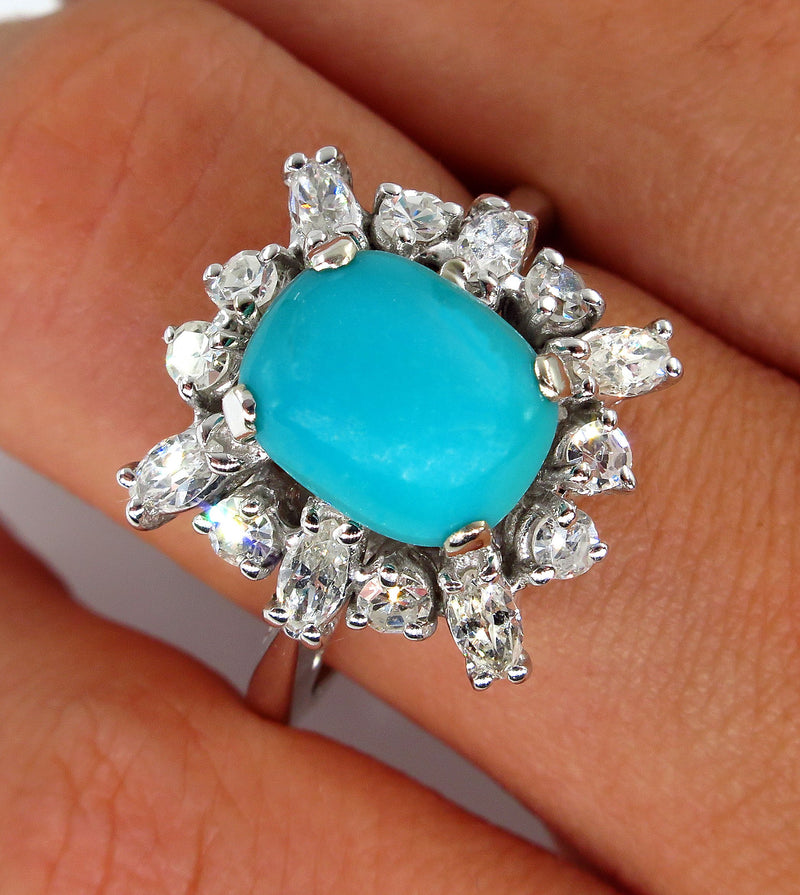 Vintage Estate 3.08ct Natural Turquoise Diamond Cluster Platinum Ring | Treasurly by Dima - Exquisite Diamonds and Fine Quality Antique, Vintage, and Estate Jewelry