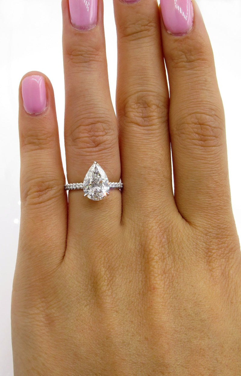 Vintage GIA 2.50ctw PEAR Shaped Diamond Pave Solitaire 14K WG Engagement Wedding Ring | Treasurly by Dima - Exquisite Diamonds and Fine Quality Antique, Vintage, and Estate Jewelry