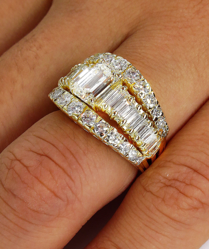 Wide GIA 4.0ct EMERALD Cut Diamond Vintage Triple Band Engagement Wedding 18k YG Ring | Treasurly by Dima - Exquisite Diamonds and Fine Quality Antique, Vintage, and Estate Jewelry