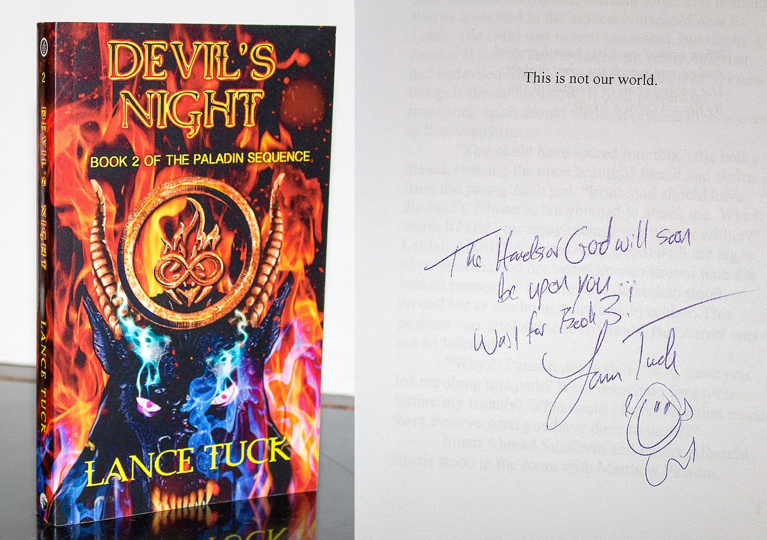 Devil's Night by Lance Tuck SIGNED Book First Edition 1st Paladin Sequence 2