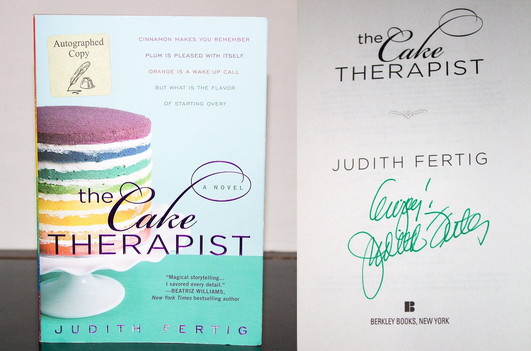 The Cake Therapist by Judith Fertig SIGNED First Edition 1st Paperback Book