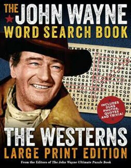 The John Wayne Large Print Western Word Search Puzzle Book For Adults Seniors