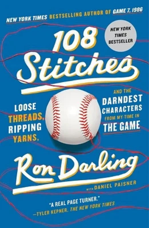 108 Stitches by Ron Darling Baseball Biography Memoir Hardcover Hardback Book