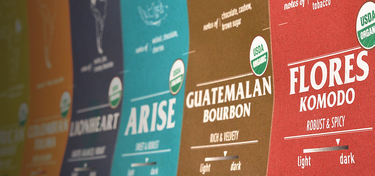 Organic certified roaster coffee labels, featured in our sustainable recycled coffee packaging