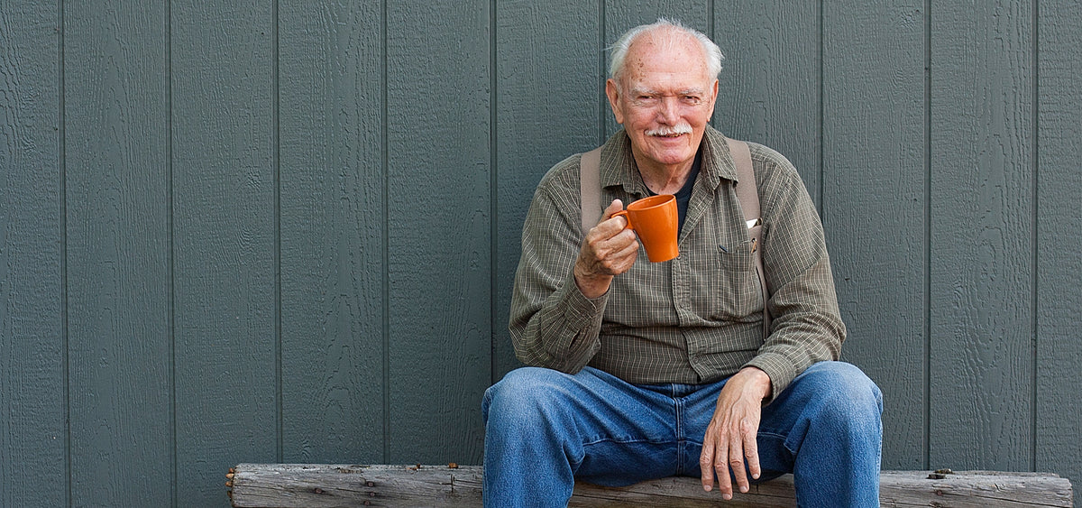 Our father, Homestead coffee founder, enjoying delicious, organic coffee