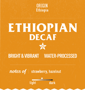 Water processed delicious Ethiopian decaf coffee in sustainable coffee packaging