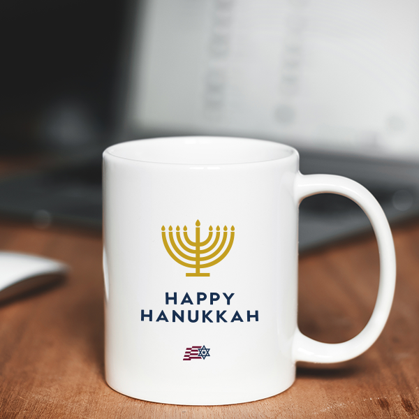 Happy Hanukkah Mug White 11ox