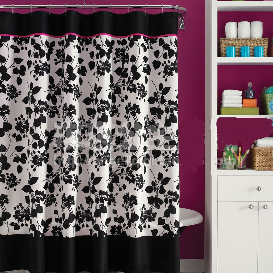 Black White Floral Waterproof Mildew Resistant Shower Curtain 4 Sizes Loluxe
