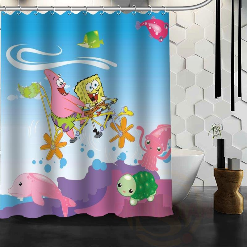 Childrens Sponge Bob Waterproof Fabric Shower Curtains