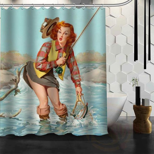 Classic Pin Up Girls Waterproof Fabric Shower Curtains – Floessence