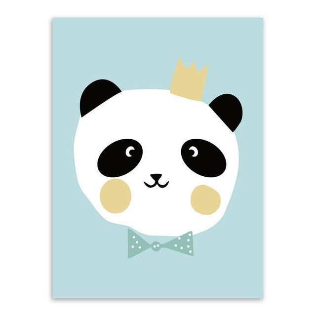 Cute Modern Style Pastel Colored Poster Size Cartoon Animal Canvas Painting 12 Designs