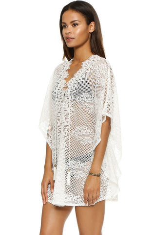e938cec5b08 Elegant Sexy Lace V-Neck Beach Cover Up One Size-Loluxe