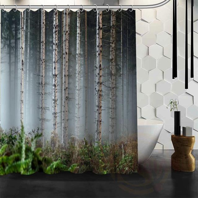 Forest Scenery Waterproof Fabric Shower Curtain – Floessence