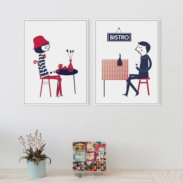French Modern Boy Girl Bistro Abstract Wall Art 9 Sizes 2 Designs ...