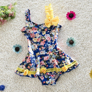 29bbf23638 Girls Fashion Floral Ruffle Bowknot Skirted One-Piece Swimsuit M-XXL-Loluxe