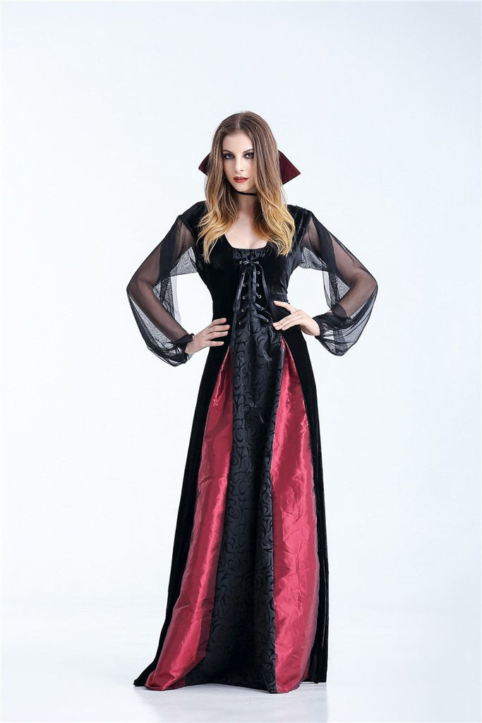 908a72484f356 Gothic-Style Long Women's Queen Vampire Costume Dress S-XL
