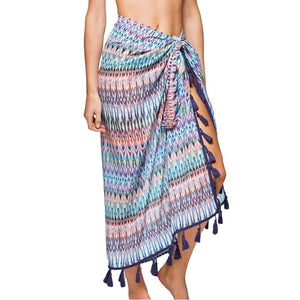 12002d6dbab Ladies Tribal-Print Fringe Sarong-Style Beach Cover Up One Size-Loluxe