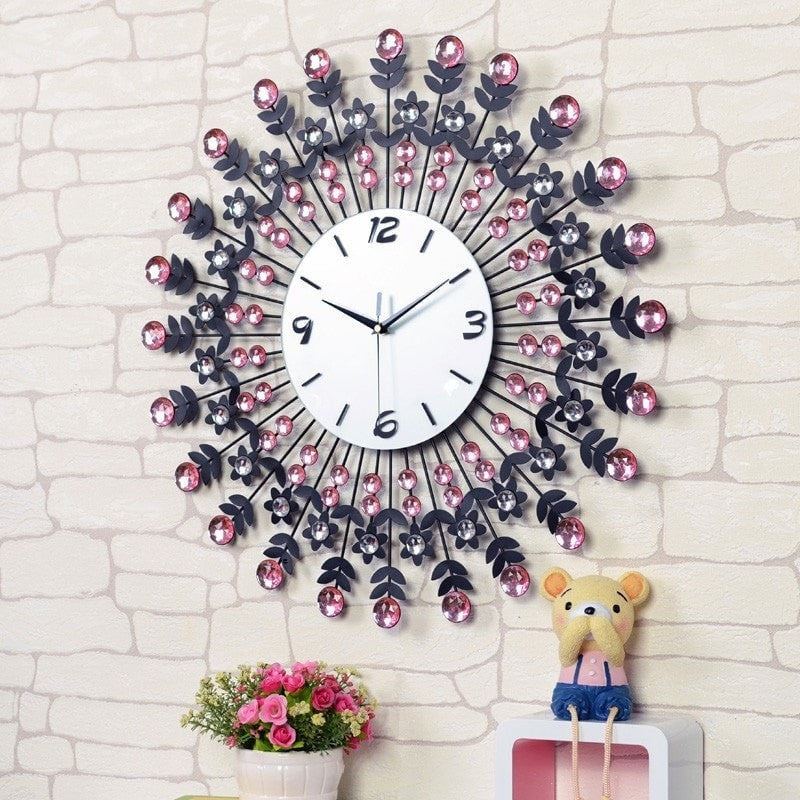 . Large Gorgeous Luxury Jewel Accent Modern Wall Clock 4 Colors