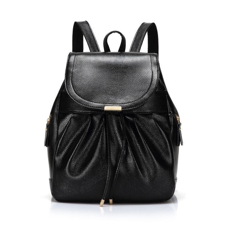 88a4e14625 ... Lovely Elegant Solid-Colored Ladies Fashion Design Genuine Leather  Backpack 5 Colors-Loluxe ...