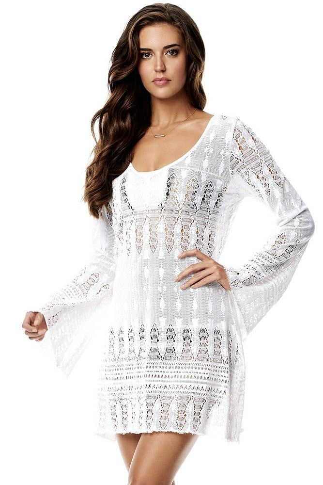 cb0711dfcc9 ... Lovely New White Crochet Lace Women s Beach Cover Up One Size 2  Designs-Loluxe ...