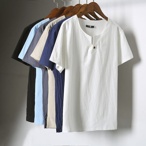 818c6ebcfd5 Men s Casual Linen Short-Sleeve Summer Top M-5XL 6 Colors-Loluxe