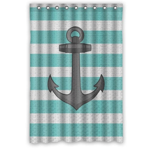 Nautical Anchor Stripe Print Waterproof 48 X 72 Shower Curtain Hooks Included