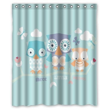 Popular Colorful Cartoon Owl 60x72 Waterproof Fabric Shower Curtain 23 Designs Loluxe