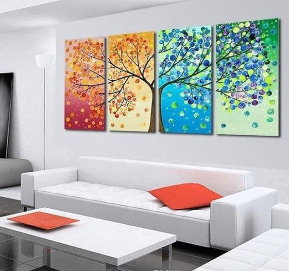 Pretty Colorful Tree Of Life 4-PC Painted Canvas Wall Art 3 Sizes ...