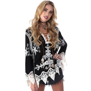 4e706dbc845 Pretty Elegant Women's Lace Tie-Up Beach Dress/Cover Up One SIze 2 Colors