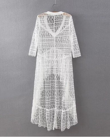 5b6029dd04 ... Pretty Lace Sheer Hi-Lo Ruffle Deep-V Summer Beach Dress Cover Up S-L  ...