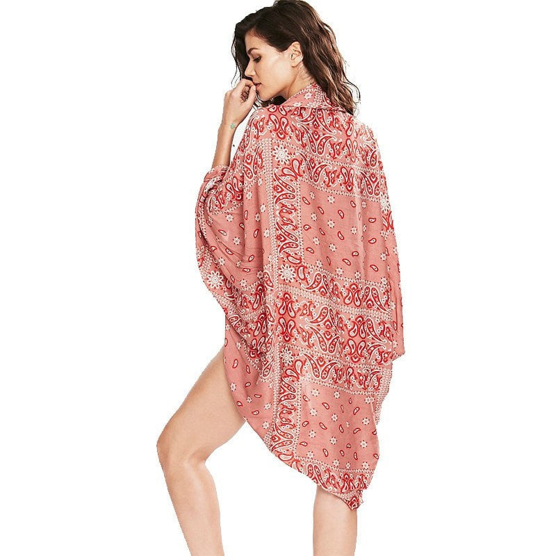 2d1d145ec9d ... Pretty Red Paisley-Print Beach Cardigan Cover Up One Size-Loluxe ...