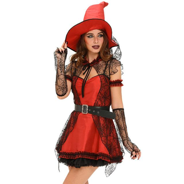 Sexy 6 Pc Women S Red Black Witch Costume Dress Set S L Floessence