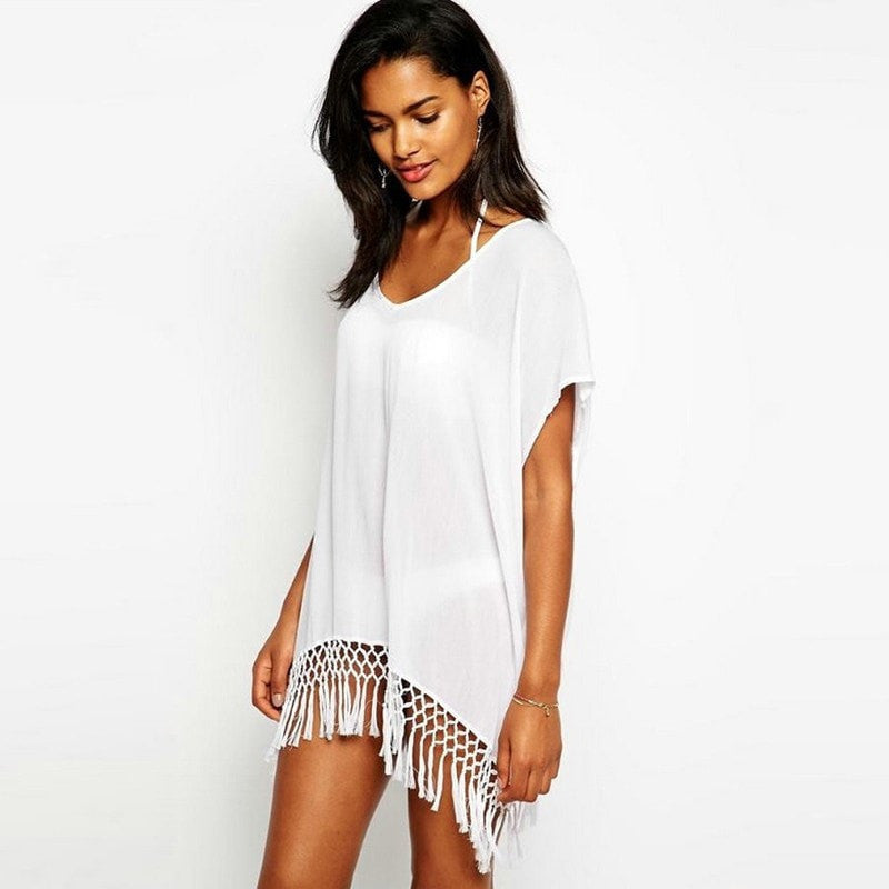 59d5dfd7f9744 ... Simple Elegant White Fringe Beach Cover Up One Size-Loluxe ...