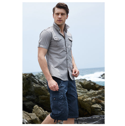 98a90d9f3c3 Solid Color Short Sleeve Cargo Button Up Men s Tops 3 Colors S-XXL -  Floessence