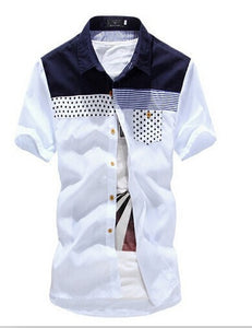9fa545d0fc0 Summer Fashion Patchwork Casual Men s Short-Sleeve Shirt M-3XL 3  Colors-Loluxe