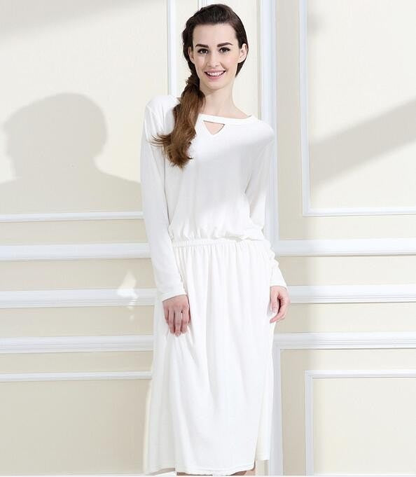 f8261ce4097 ... Super Soft Solid Mid-Calf Long-Sleeve Women's Nightgown M-2XL 2 Colors  ...