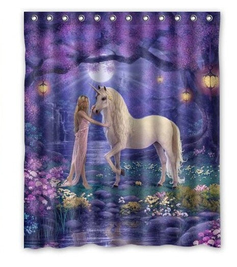 Vibrant Unicorn Horse 66 X72 Wateroof Shower Curtain 3 Styles Loluxe