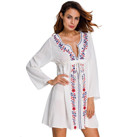 c07b1f4ad75 Women's Embroidered White Deep-V Long-Sleeve Cotton Beach Cover Up One Size-
