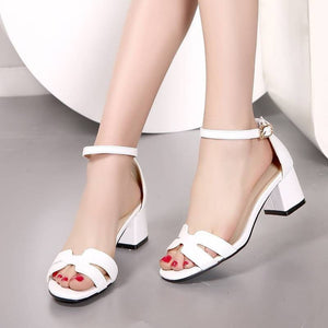 908ac58382 Women's Fashion Open-Toe Square Low-Heel Sandals 3 Colors-Loluxe