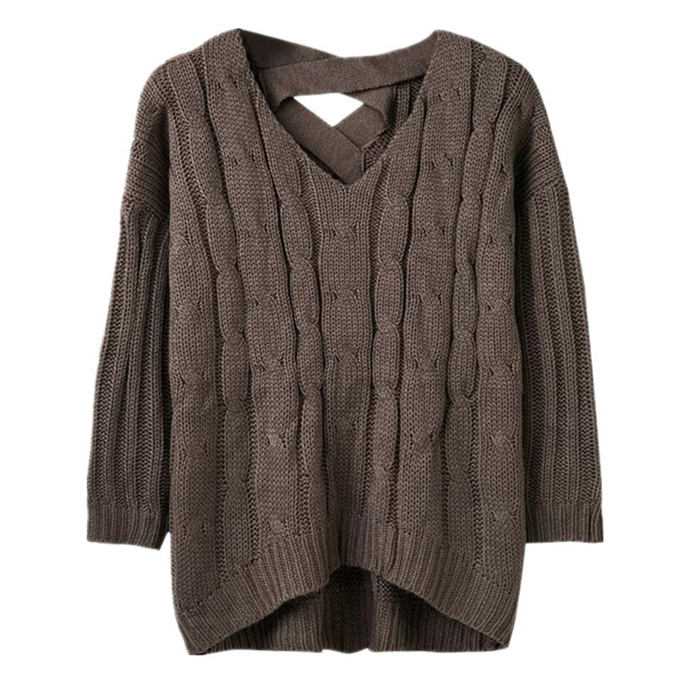 6b382c1a7dad20 ... Women's Fashion Pullover Cable Knit Long-Sleeve Loose Casual Criss-Cross  Back Sweater One ...