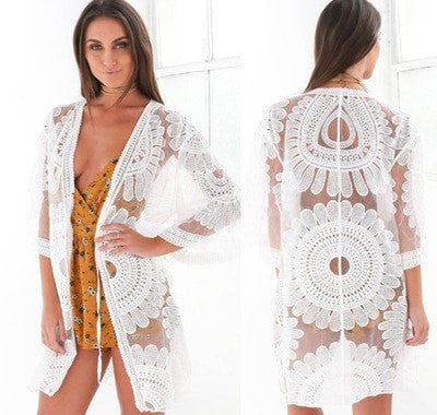 c2b2fbc5e47 Women's Sexy Sheer Crochet Lace Beach Cover Up One Size-Loluxe