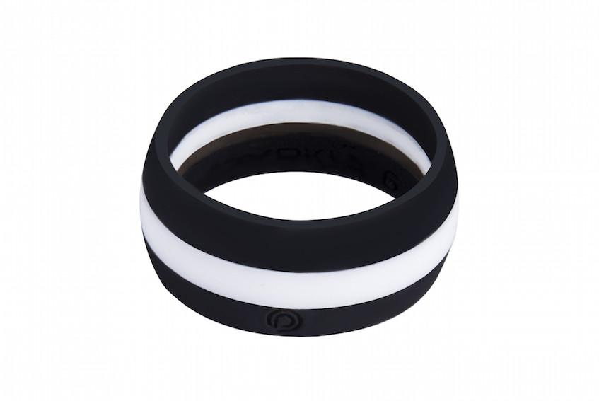 BLACK with WHITE STRIPE Silicone Ring