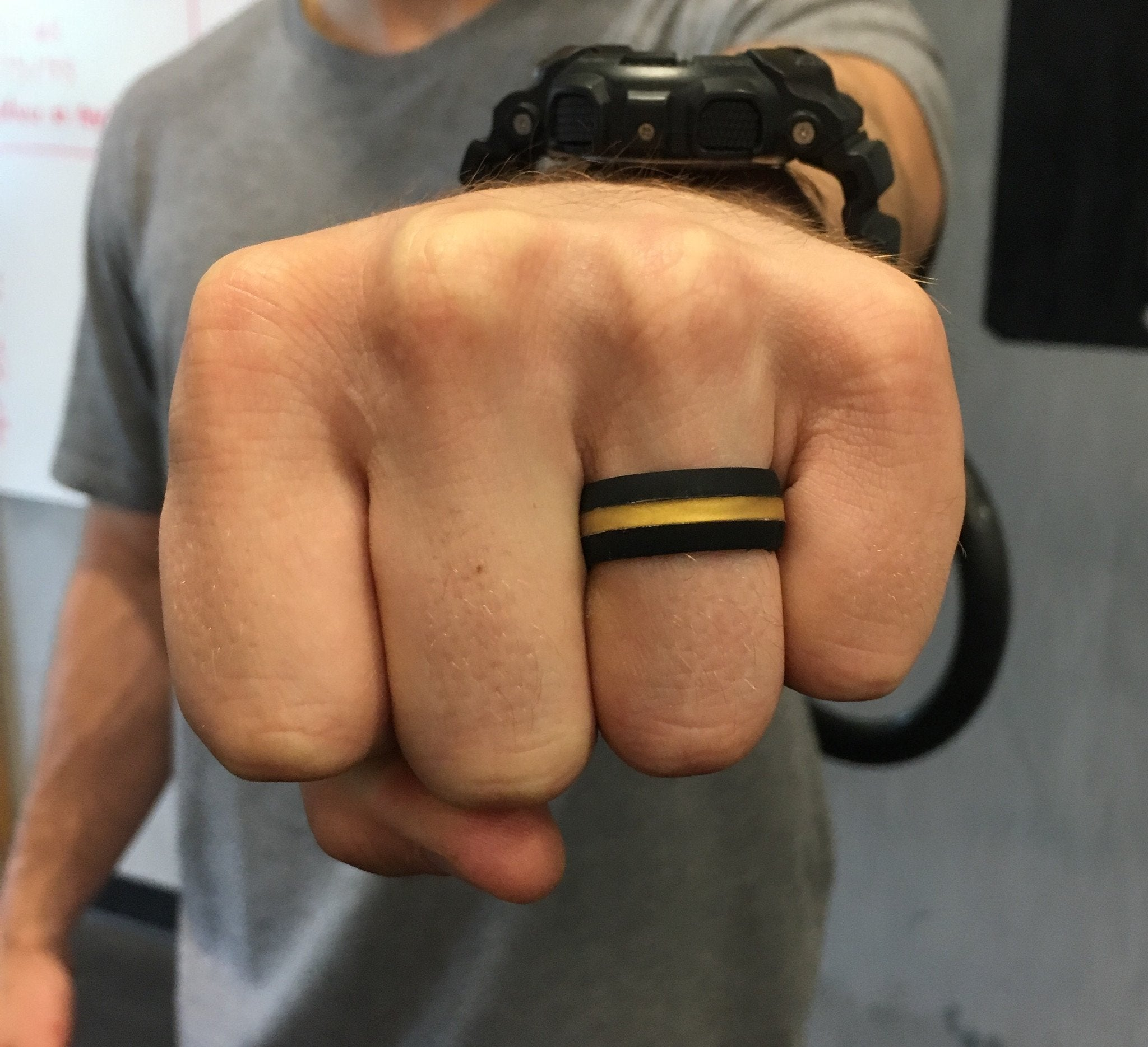 BLACK with GOLD STRIPE Silicone Ring
