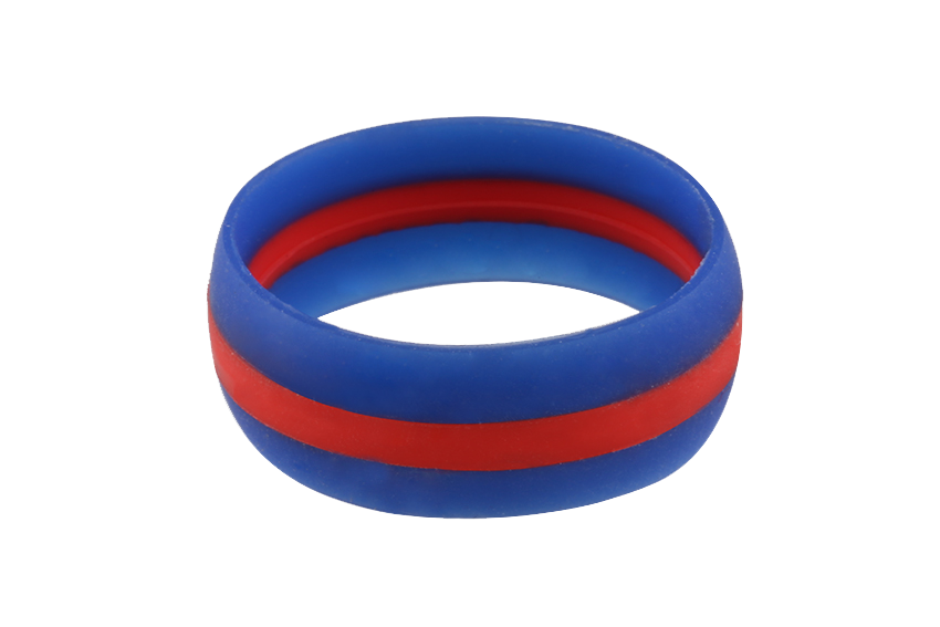 BLUE with RED STRIPE Silicone Ring