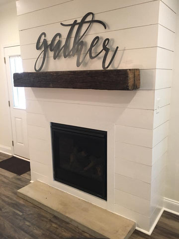 Shiplap Fireplace with Railroad Tie Mantle