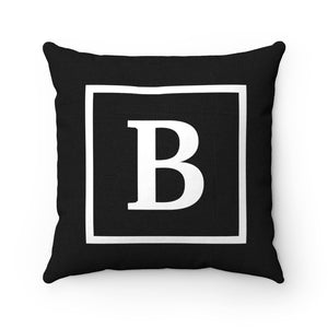 Letter B Black & White Square Initial Accent Pillow