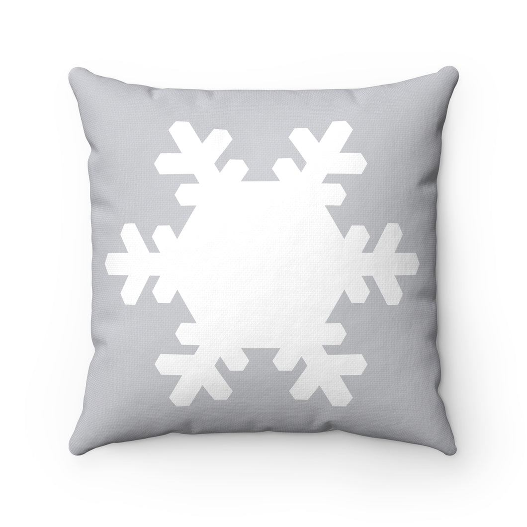 Gray and White Snowflake Square Pillow