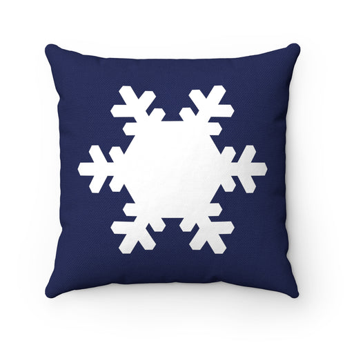 Navy and White Snowflake Square Pillow
